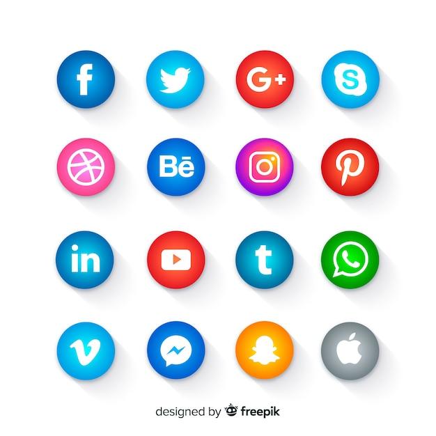 Pulsanti delle icone dei social media arrotondati Vettore gratuito