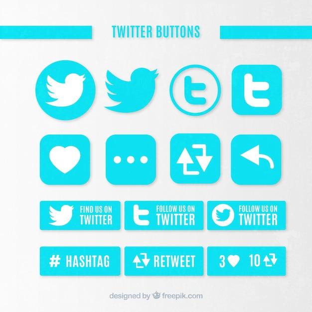 Pulsanti di twitter Vettore gratuito