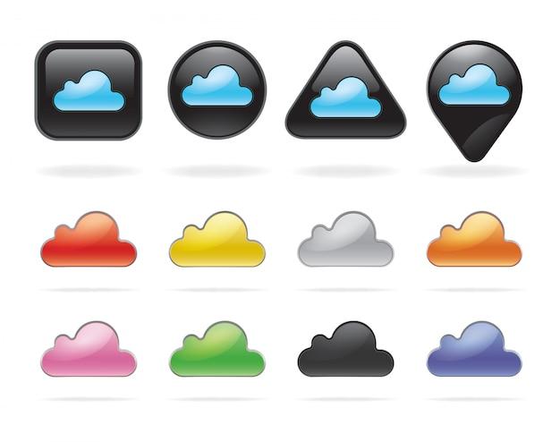 Pulsanti e set tecnologia cloud. Vettore Premium