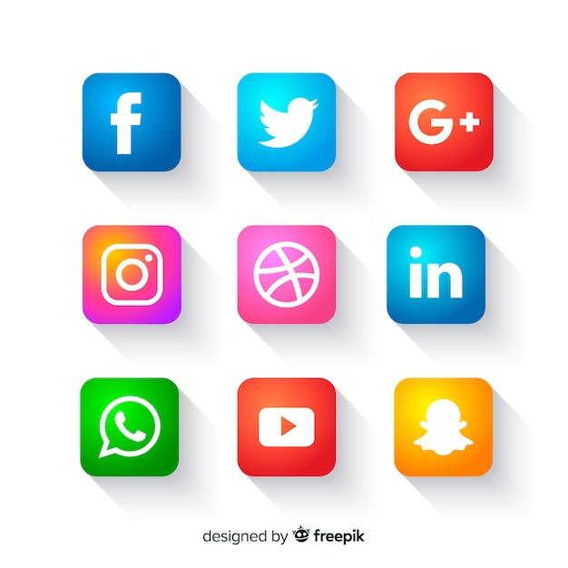 Pulsanti icone social media Vettore gratuito