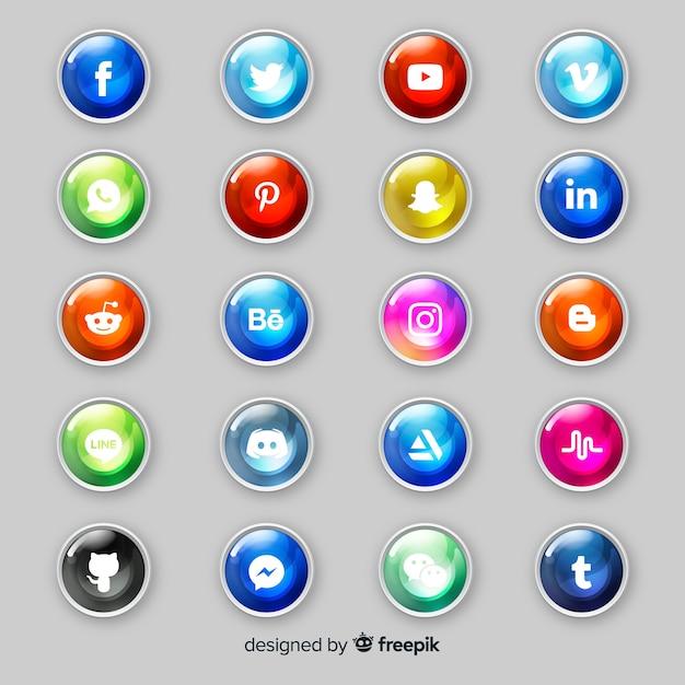 Pulsanti realistici con raccolta logo social media Vettore gratuito