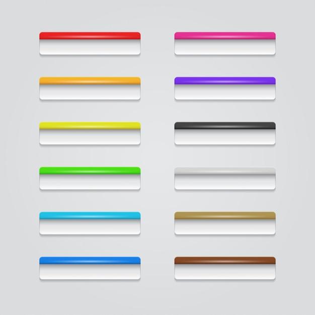 Pulsanti web colorati Vettore Premium
