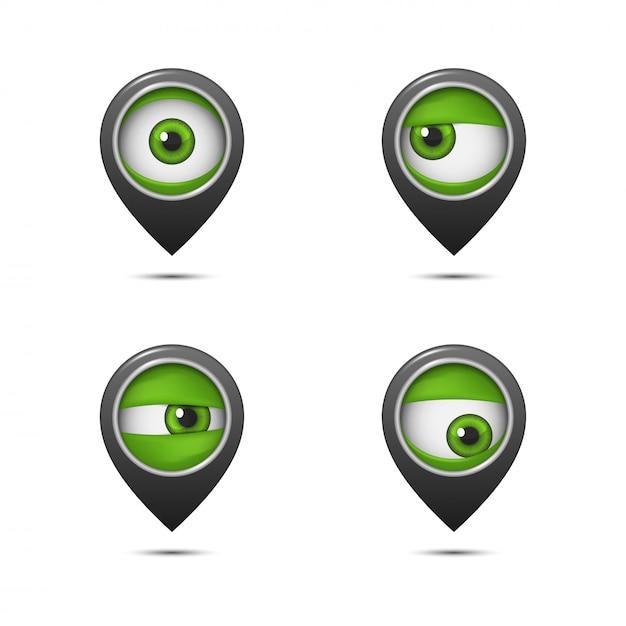 Punta sulla mappa con un occhio Vettore Premium