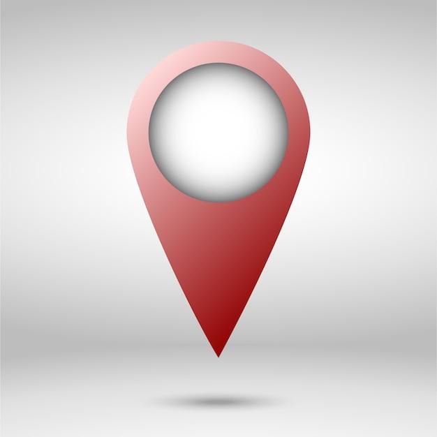 Puntatore rosso della mappa isolato Vettore Premium