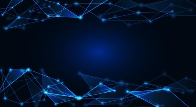 Punti collegati su sfondo blu brillante Vettore Premium