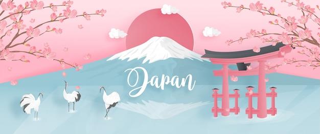 Punti di riferimento del giappone famosi del mondo con la montagna di fuji e la gru rosso-incoronata. Vettore Premium