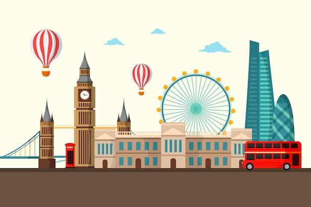 Punti di riferimento della città - sfondo per le videoconferenze Vettore gratuito