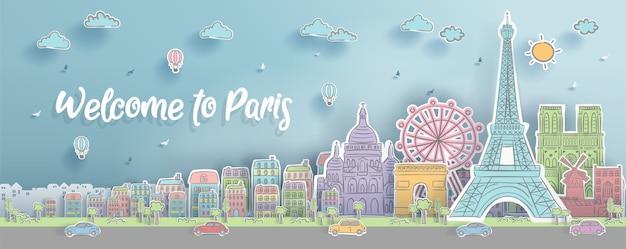 Punti di riferimento di parigi, francia. Vettore Premium