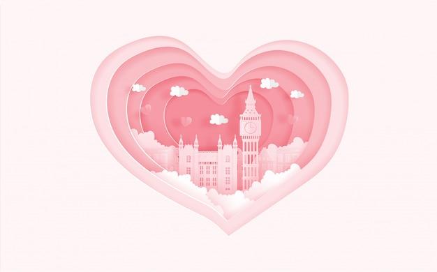 Punti di riferimento famosi di londra, inghilterra nel concetto di amore con forma del cuore. carta di san valentino Vettore Premium