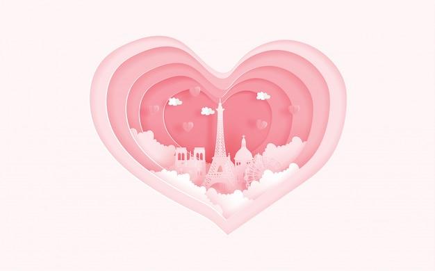 Punti di riferimento famosi di parigi, francia nel concetto di amore con forma del cuore. carta di san valentino Vettore Premium