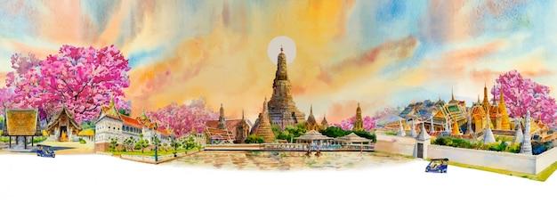 Punti di riferimento famosi di vista di panorama bangkok e chiang mai in tailandia. Vettore Premium