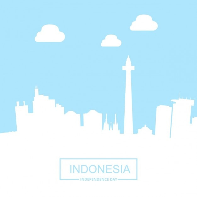 Punti di riferimento indonesia paese con la tipografia Vettore gratuito