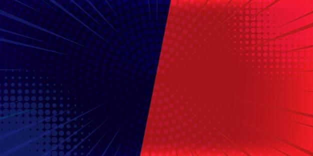 Punti di semitono di scoppio di fulmini di fumetti sfondo pop art. illustrazione del fumetto su rosso e su blu. Vettore Premium