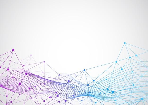 Punti e linee di collegamento astratti con fondo geometrico Vettore Premium