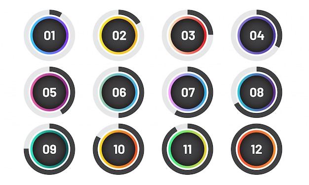 Punti elenco moderni impostati con grafico a torta. indicatori di cerchio alla moda con numero. Vettore Premium