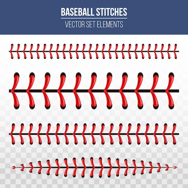 Punti sportivi da baseball, cuciture in pizzo rosso. Vettore Premium