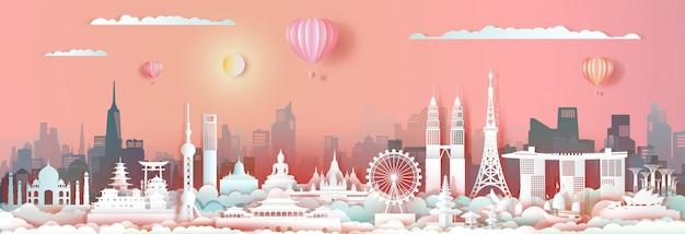 Punto di riferimento asia di viaggio con l'orizzonte di paesaggio urbano e il turismo asean. Vettore Premium