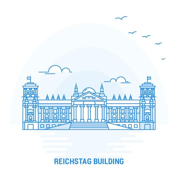 Punto di riferimento blue building di reichstag Vettore Premium