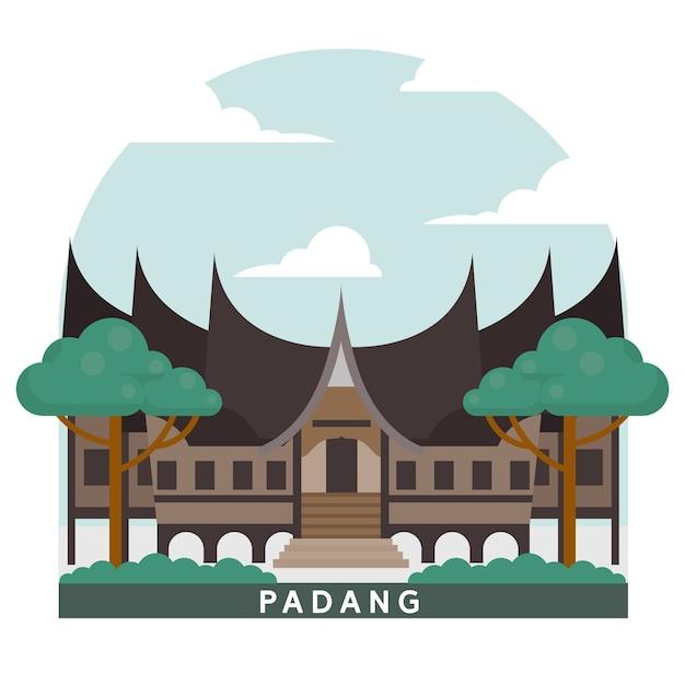 Punto di riferimento dell'indonesia padang house Vettore Premium