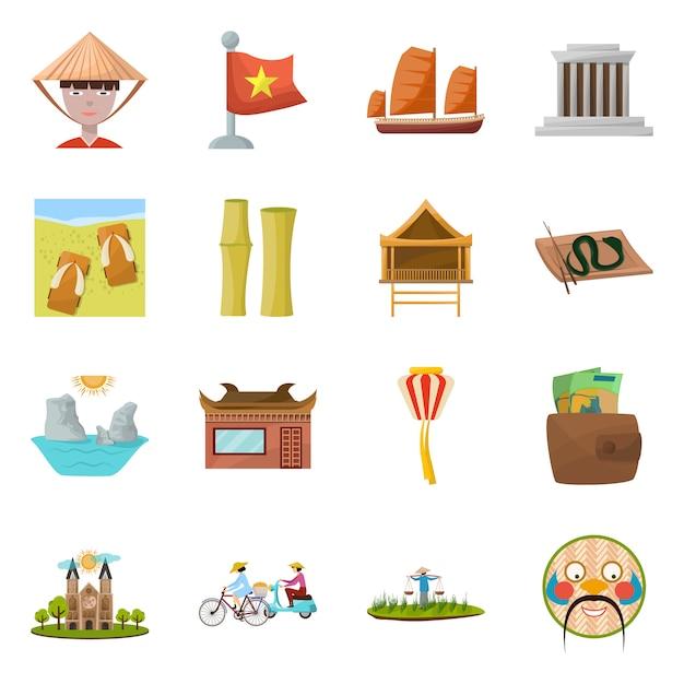 Punto di riferimento dell'insieme dell'icona del fumetto di vettore del vietnam cultura nazionale del vietnam dell'illustrazione isolata vettore insieme oflandmark asia dell'icona. Vettore Premium
