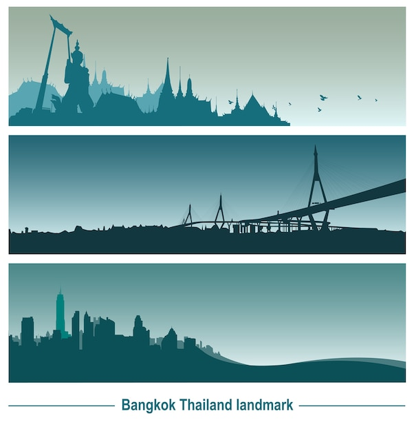 Punto di riferimento di bangkok thailandia Vettore Premium