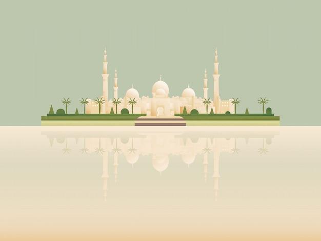 Punto di riferimento minimalista del fumetto della migliore moschea islamica famosa. Vettore Premium