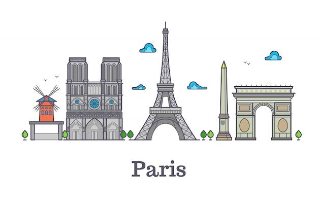 Punto di riferimento moderno della linea di viaggio della francia, illustrazione di vettore di panorama di parigi Vettore Premium