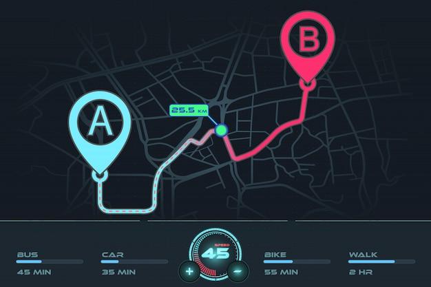 Punto di tracciamento gps navigazione dashboard dal punto a al punto b Vettore Premium