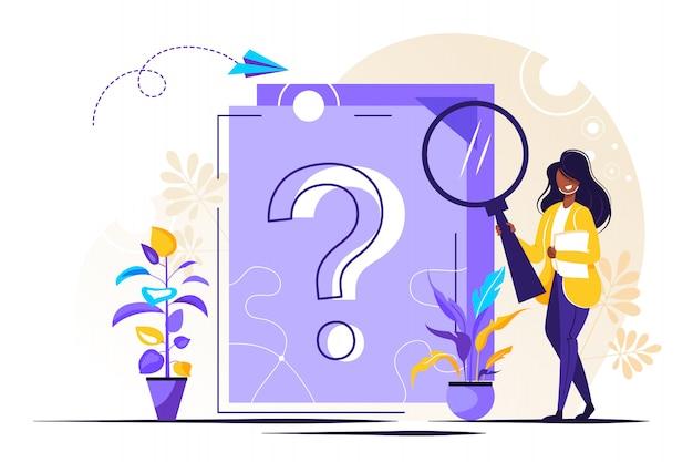 Punto interrogativo sul documento. donna d'affari facendo domande Vettore Premium
