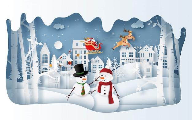 Pupazzo di neve al villaggio nella stagione invernale con babbo natale Vettore Premium