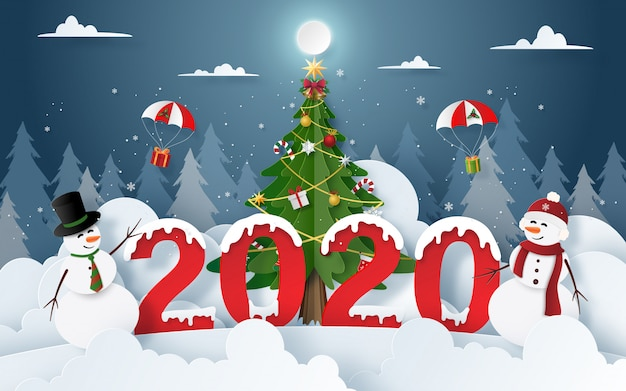 Pupazzo di neve con festa di natale e capodanno 2020 alla vigilia di natale Vettore Premium