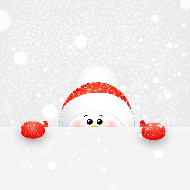 Pupazzo di neve di natale carino, bambino, divertente con sciarpa e cappello di babbo natale rosso con fiocchi di neve che cade e segno. Vettore Premium