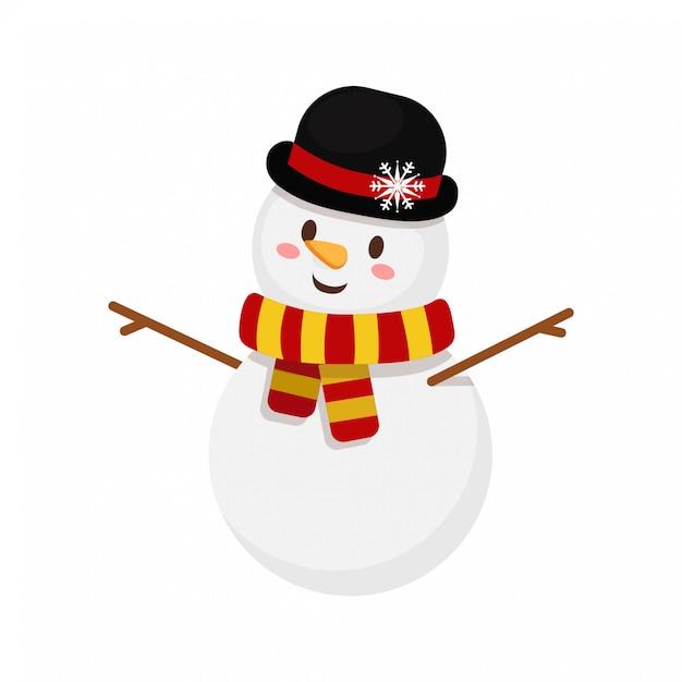 Pupazzo di neve di natale con cappello e sciarpa a righe Vettore Premium