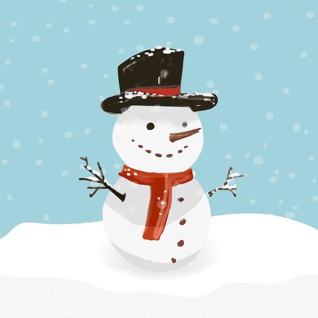 Pupazzo di neve disegnato a mano in un giorno nevoso Vettore gratuito