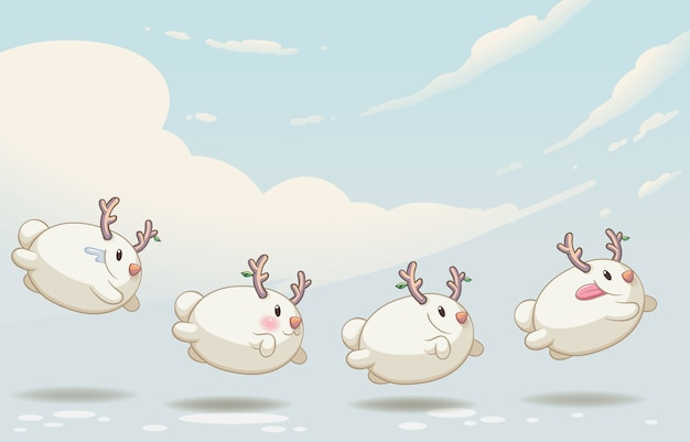 Pupazzo di neve personaggio simpatico mostro Vettore Premium