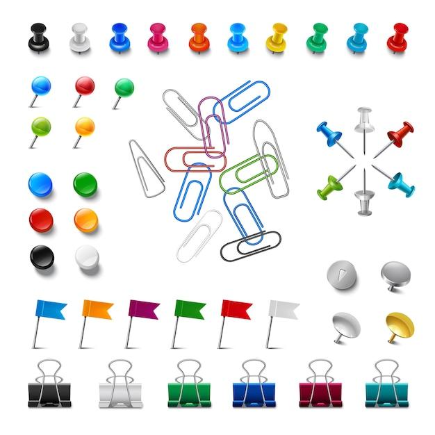 Pushpins e clip realistici Vettore gratuito