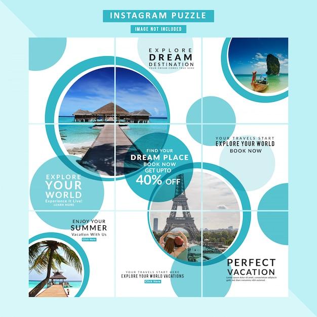 Puzzle banner web itinerante per i social media Vettore Premium