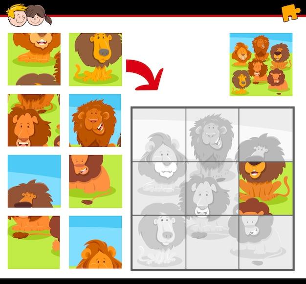 Puzzle con leoni felici dei cartoni animati Vettore Premium