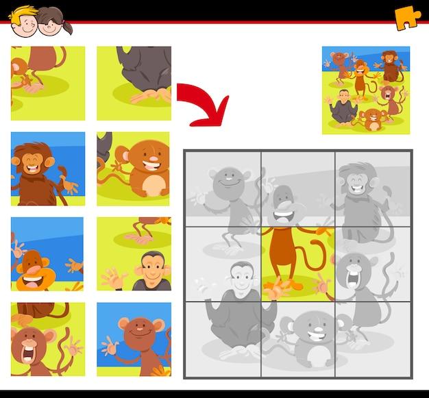 Puzzle con scimmie felici dei cartoni animati Vettore Premium
