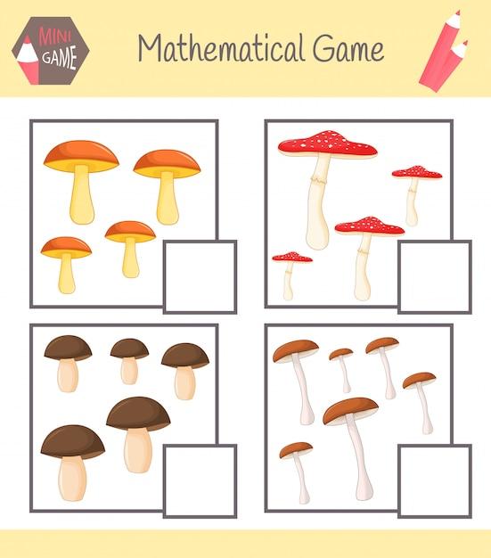Quaderno di lavoro sulla matematica per l'educazione prescolare Vettore Premium