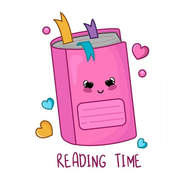 Quaderno o taccuino rosa del fumetto di kawaii, di nuovo a scuola e concetto di apprendimento Vettore Premium