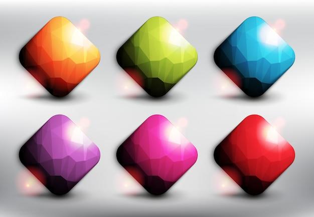 Quadrati stile poli basso in 6 colori diversi. pulsanti web quadrati. isolato sullo sfondo bianco. Vettore Premium
