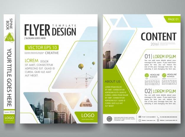 Quadrato astratto verde nel manifesto di presentazione del portafoglio del libro della copertura. Vettore Premium