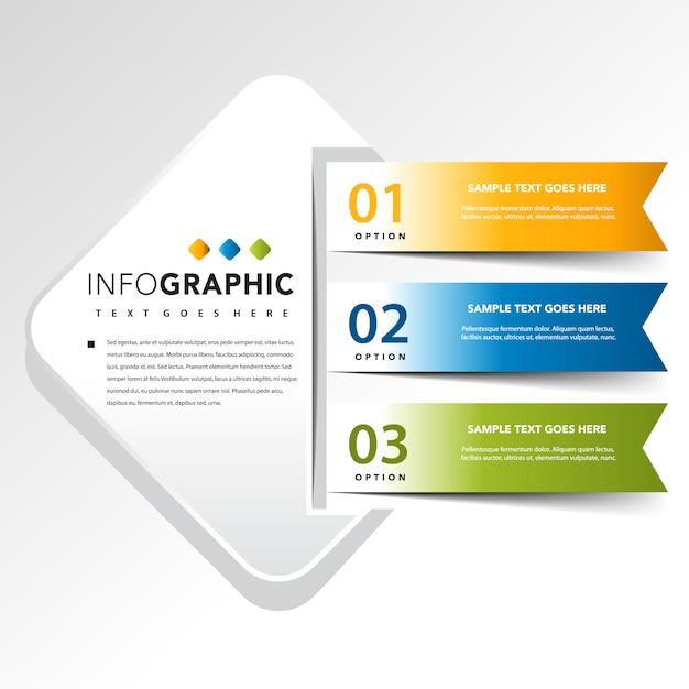 Quadrato infographic con 3 illustrazione vettoriale banner Vettore gratuito