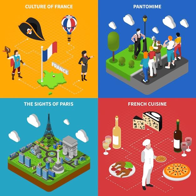 Quadrato isometrico delle icone di cultura francese Vettore gratuito