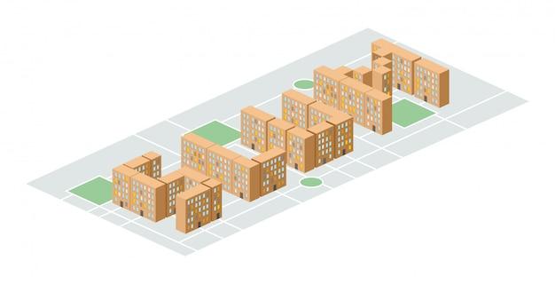 Quartiere dei bassifondi. edifici della città isometrica. iarda tra le case. povero distretto alla periferia Vettore Premium