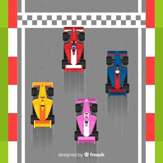 Quattro auto da corsa f1 che attraversano il traguardo Vettore gratuito