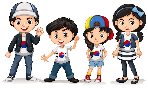 Quattro bambini della corea del sud Vettore gratuito