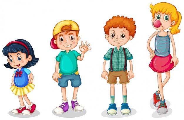Quattro bambini Vettore gratuito