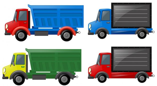 Quattro camion in diversi colori Vettore Premium